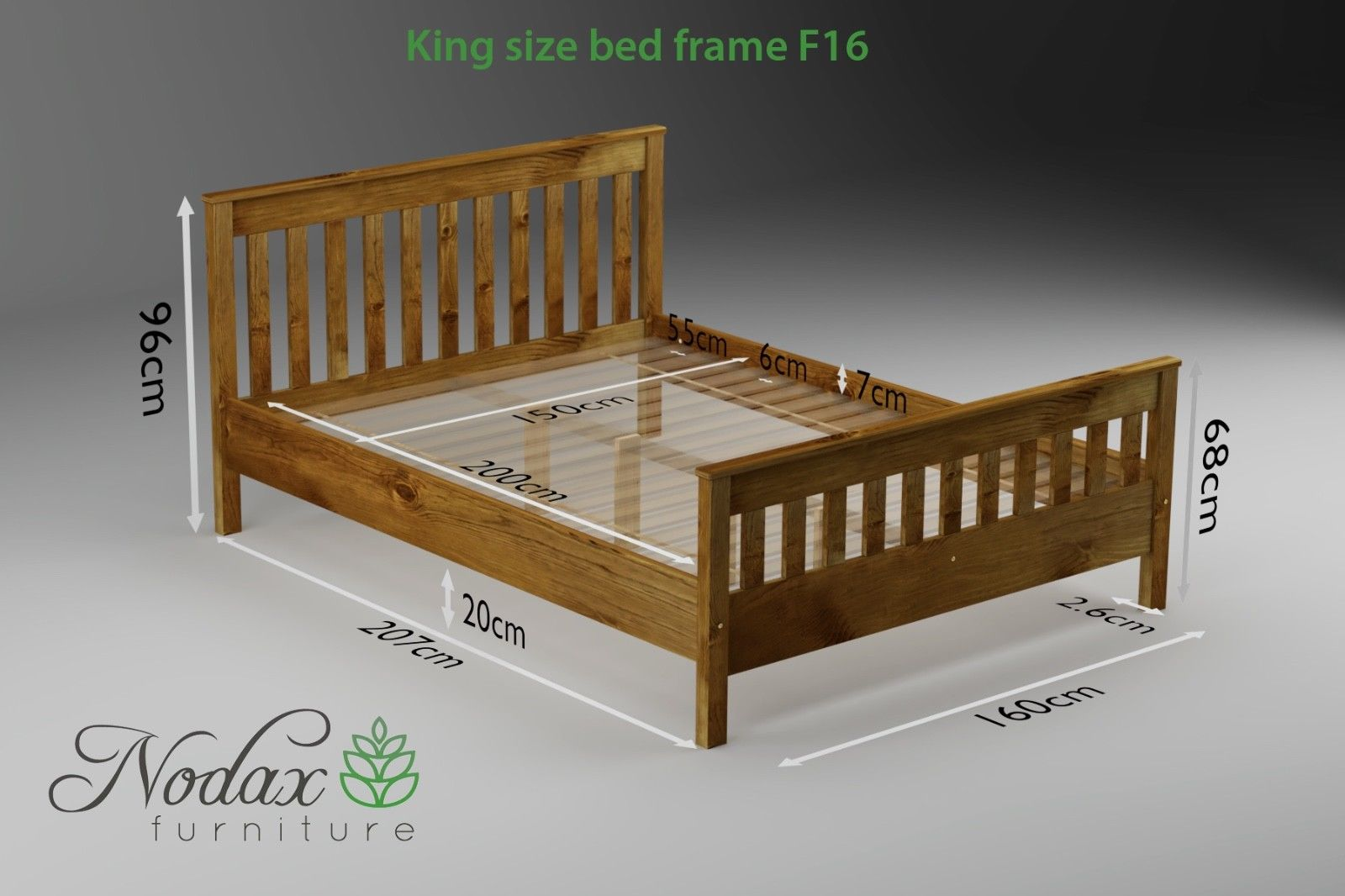 King Size Bed Frame F16 5ft Uk Size With High Footboard