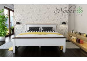"King Size White and Walnut Bed Frame ""F18"""