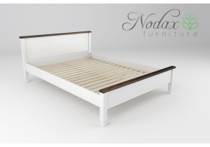 King Size White and Walnut Bed Frame