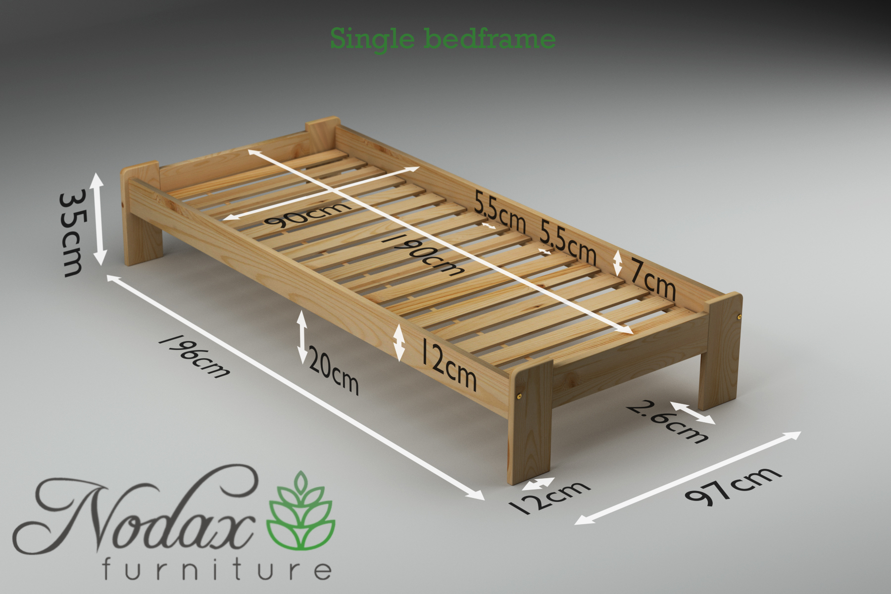 brand new 348d8 d0d1b Single Wooden Bed Frame UK Size - ''F15''