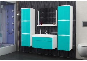 "Bathroom Furniture Set White/Blue ""30"""